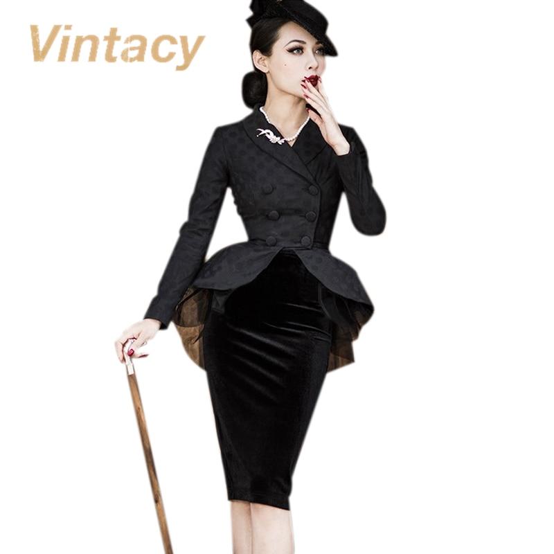 Vintacy 2017 vintage suit jacket black cotton font b dress b font autumn women font b