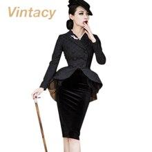 Vintacy 2017 vintage suit jacket black cotton dress autumn women dress mesh patchwork bodycon polka dots women party dresses