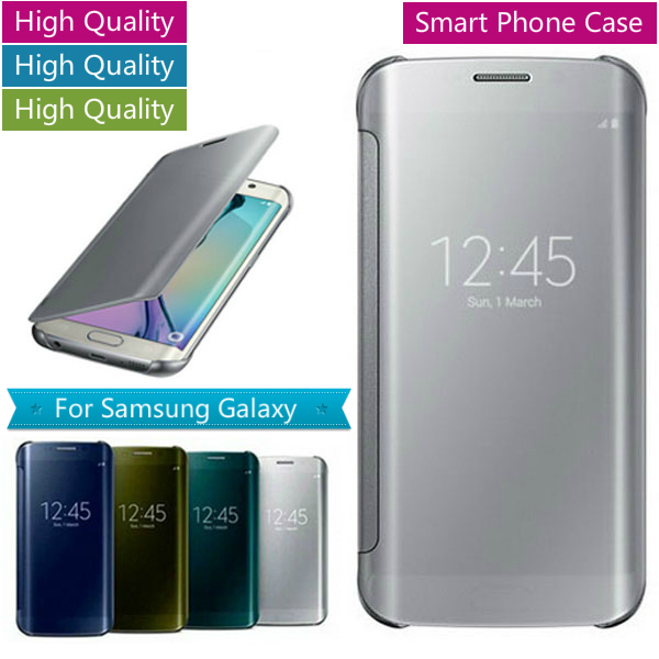 Clear View Mirror Smart Case For Samsung Galaxy Note 9 8 S9 S8 Plus Luxury Flip Cover Smart PU Leather Case for Samsung Note9 iPhone XS