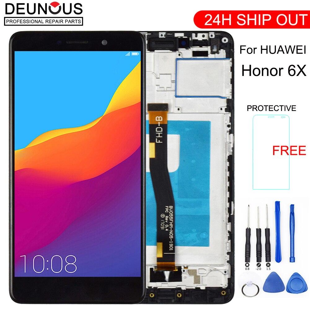 Nouvel Affichage D'affichage À CRISTAUX LIQUIDES Pour Huawei Honor 6X BLN-L24 BLN-AL10 BLN-L21 BLN-L22 écran Tactile Pour GR5 2017 Numériseur jo L'assemblée Outils Gratuits