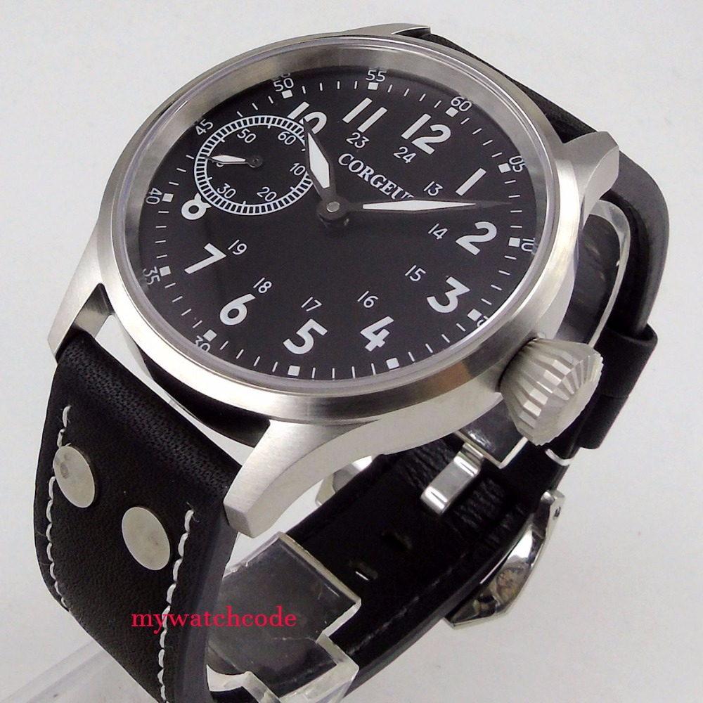 brushed 43mm corgeut black dial sapphire glass 6497 hand winding mens watch C97 jamo c97
