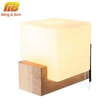 MingBen Wall Lamp Night Light Glass+Wood E27 Socket Vintage Morden Style For Bed Room Aisle Foyer For Bedroom Living Room