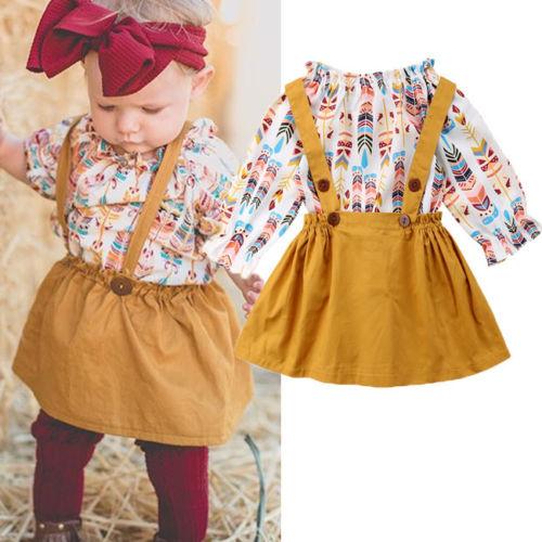 6cadf7335fc Infant Kids Baby Girls Romper Tops+Suspender Skirt Dress Overalls Outfits  Set