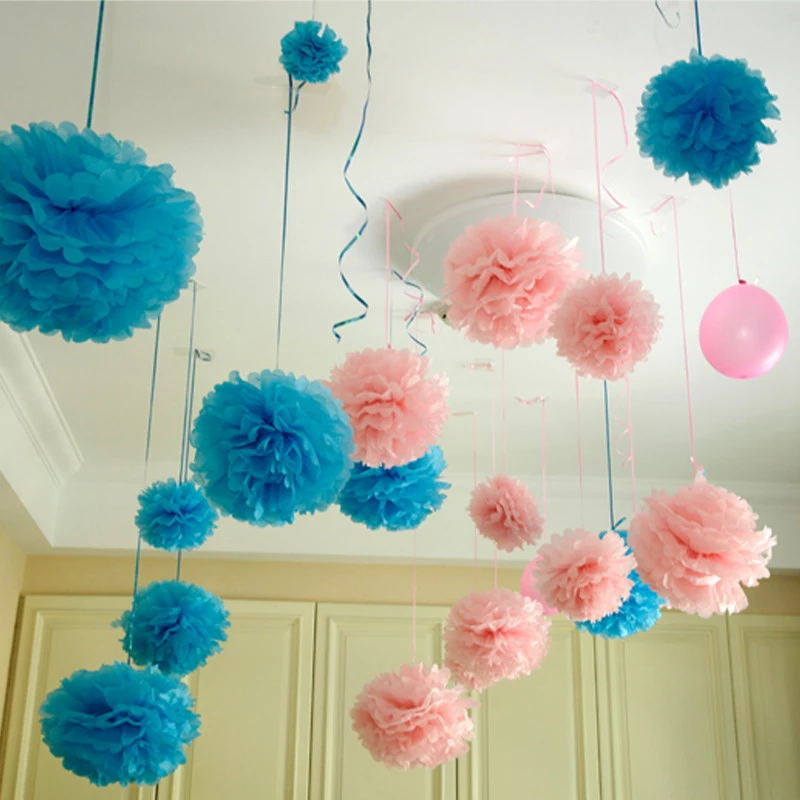 5pcs 10CM Paper Flowers Ball Decorative Supplies Flower For Wedding Home Party Room Banquet Decoration PomPom DIY Craft Products In Decorations