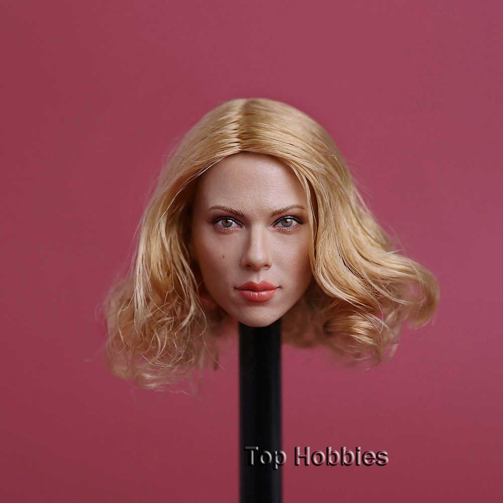 Sca viúva negra scarlett johansson cabeça esculpir loira/cabelo dourado gc002b feminino modelo de cabeça f 12 Polegada ph figura ação 1:6
