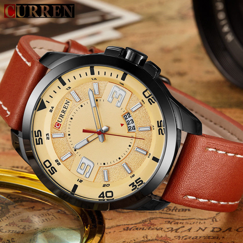 Original Curren Mens Watches Top Brand Luxury Leather Men Quartz Watch Fashion Casual Sport Male Clock Wristwatch Montre Homme curren watches mens brand luxury quartz watch men fashion casual sport wristwatch male clock waterproof stainless steel relogios