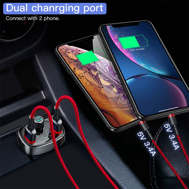 Baseus Car Charger FM Transmitter Aux Modulator Bluetooth Handsfree Car Audio MP3 Player 3.4A Fast Dual USB Mobile Phone Charger 5