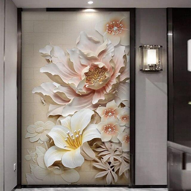 Papier peint mural 3D avec fleurs gaufrées, décoration dinterieur