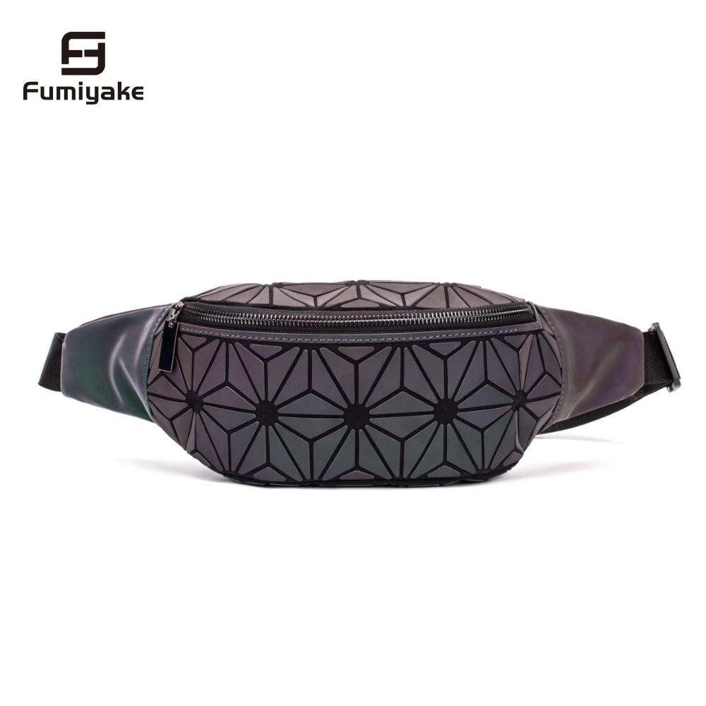 Fashion Luminous Waist Bags Women Waist Fanny Packs Belt Bag Luxury Brand Chest Handbag Geometry Waist Packs Mobile Phone Bag