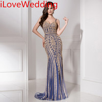 ILoveWedding Mermaid Evening Dresses Formal Tulle Crystal Beading Sleeveless Sweep Train Party Prom Bridal Gowns In