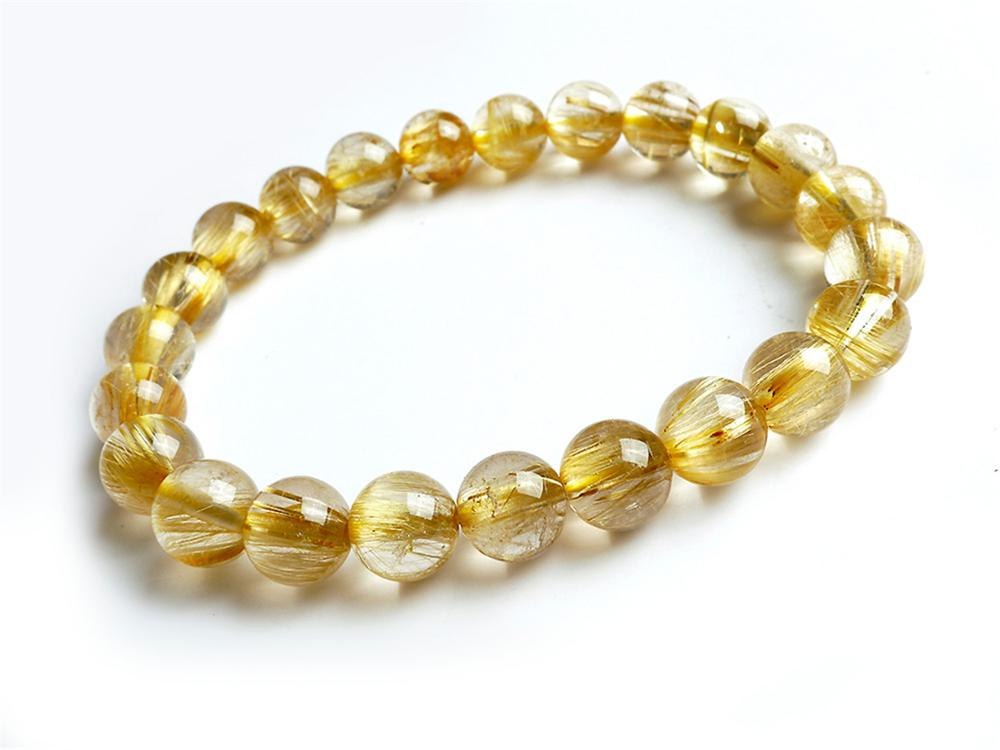 Genuine Natural Brazil Gold Rutilated Quartz Crystal Woman 10mm Round Beads Bracelet Titanium Jewelry Wealthy Stone AAAA in Bracelets Bangles from Jewelry Accessories