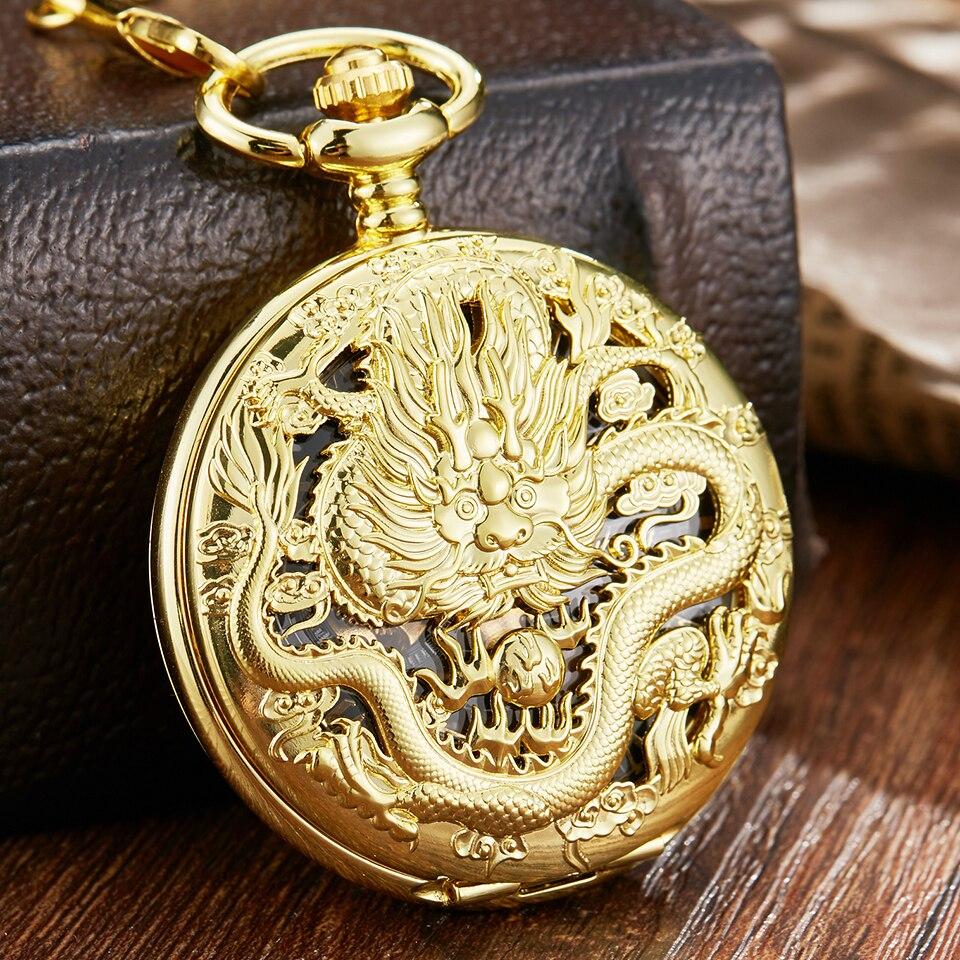 Luxury Golden Dragon Mechanical Fob Clock Phoenix Hollow Sculpture Mechanical Skeleton Pocket Watches Men Chain Wedding Gifts