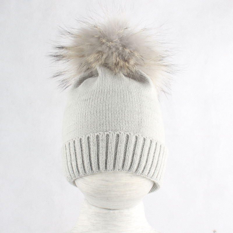 Baby Hat Winter Children Baby Warm Cotton Beanies Hats Crochet Knitted Kids Caps Boys Girls Brand Real Fur Pom Pom Hat in Men 39 s Skullies amp Beanies from Apparel Accessories
