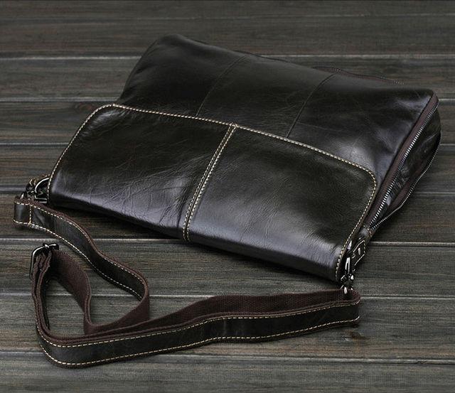 Genuine Leather Fashion Men Shoulder Bags Men's Leather Crossbody Bags For Women Messenger Bags Casual Black Clutch Bag 2016