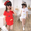 The summer of 2016 girls long t-shirts Children lengthen cartoon cat print red t shirt Short Sleeved Kids white T-shirt fashion