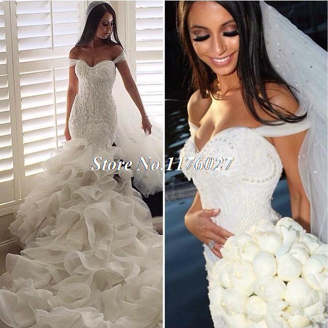 mermaid organza wedding dress with train