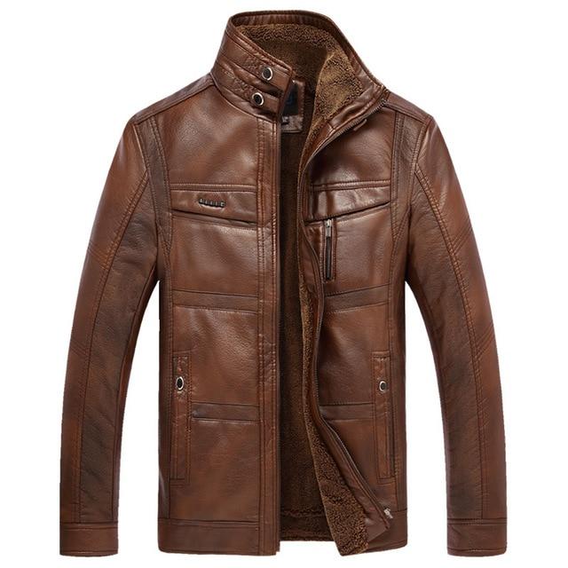 6f1017ee10a Men Leather Jacket Motorcycle Faux Sheepskin Coat Fleece Thick SLim Winter  Warm Coffee PU Plus Size