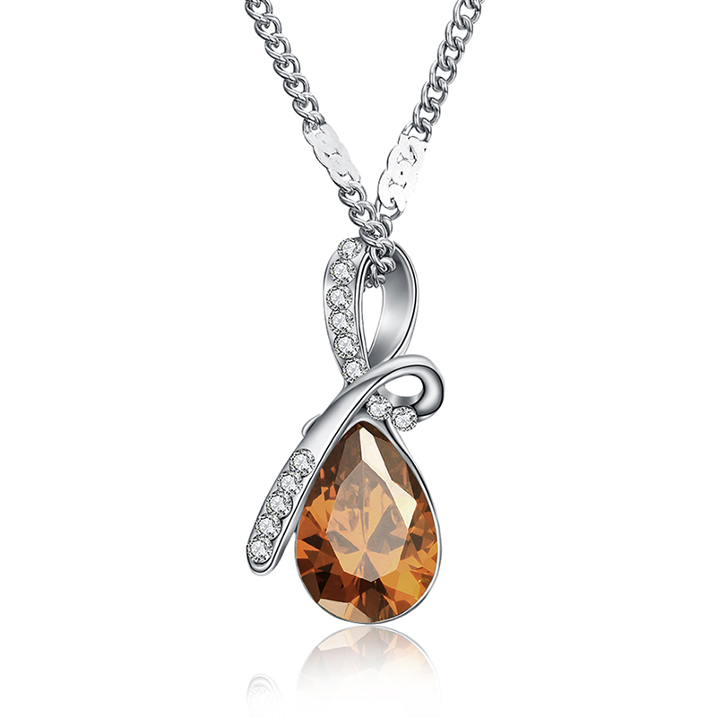 MISANANRYNE Fashion 10 Colors Austrian Crystal Water Drop Pendants&Necklaces Chain Necklace Fashion Jewelry For Women 5