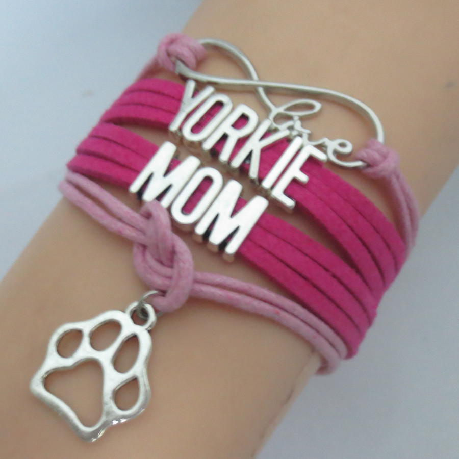 Drop Shipping Hot Pink Wax Custom Word Yorkie Mom With Paw Charm Bracelet  Infinity Love Handmade