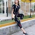 stripe two piec women's shirt elastic pants-sleeve office formal female work wear slim outerwear sets 2016 new trousers sleeved