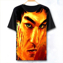 Мужская/женская футболка с 3D принтом, китайская футболка кунг-фу суперзвезда Брюс Ли с коротким рукавом, Спортивная футболка кунг-фу