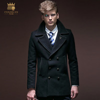 FreeShipping New fashion casual male Men's long sleeved winter thick double breasted coat business 14023 fanzhuan on sale