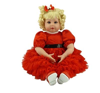 Pursue 20/51 cm Reborn Dolls Babies Blue Eyes Blond Hair With Red Princess Dress Valentines Day Present Baby Doll Nursery Set