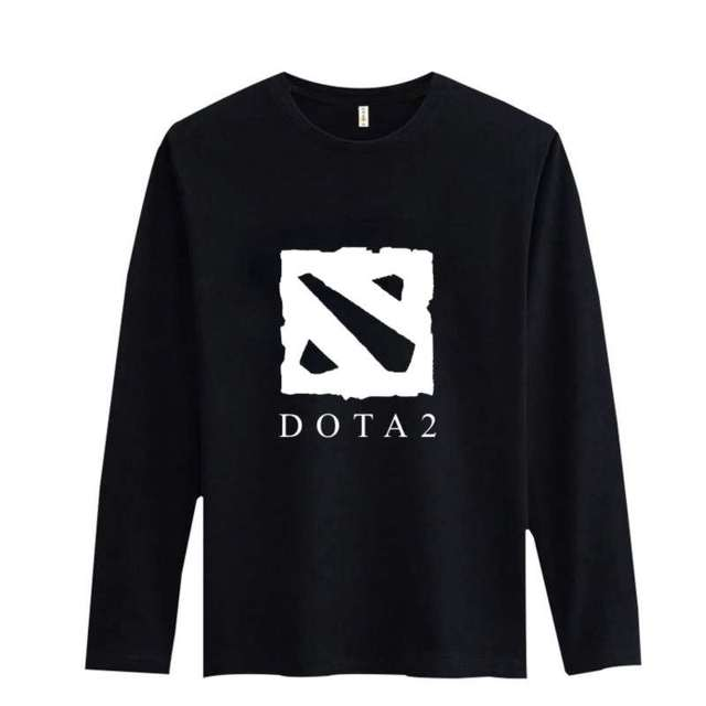 Classic Dota 2 Style Black/White Cotton Long Sleeve T-shirt 3xl Cartoon Funny T Shirt Men in Soft Cotton Tees and Tops Gray xxs