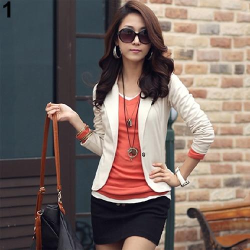 Women Korean Style Casual Slim Short Blazer Suit Jacket Coat Outwear Blouse Top
