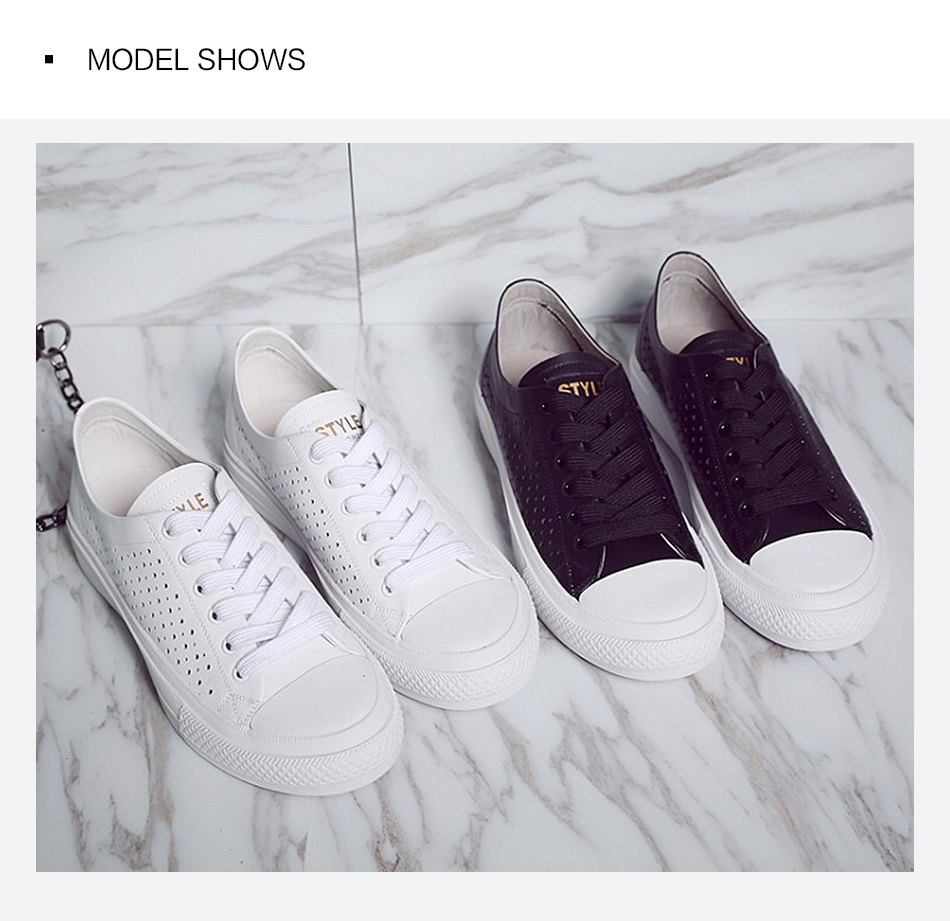 Donna-in 2019 New Women Flats Sneakers Genuine Leather Shoes Lace-up Cut-outs Flat Casual Women Shoes Hollow Summer Black White (12)