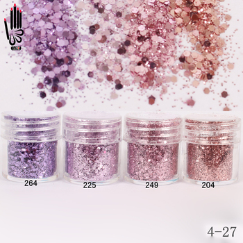 1 Jar/Box 10ml 3D Nail Light Purple Pink Mix Glitter Powder Sequins For Art 300 Colors for Gel Polish 4-27