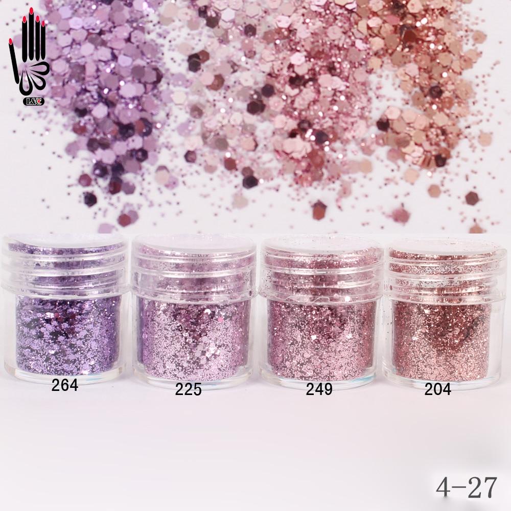 1 Jarra / Caja 10 ml 3D Nail Light Purple Pink Mix Nail Glitter Polvo - Arte de uñas