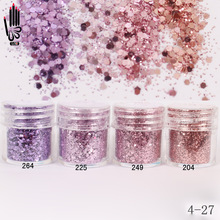 1 Jar / Doos 10 ml 3D Nail Light Paars Roze Mix Nail Glitter Poeder Pailletten Poeder Voor Nail Art Decoratie Optioneel 300 Kleuren 4-27