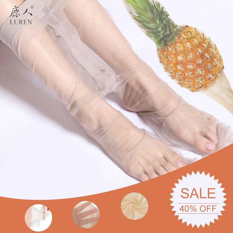 LUREN Women's Long Silk Stockings For Summer Ultra-thin Anti-hook Pineapple Stockings  Female Black/Flesh-coloured Panty-Hose