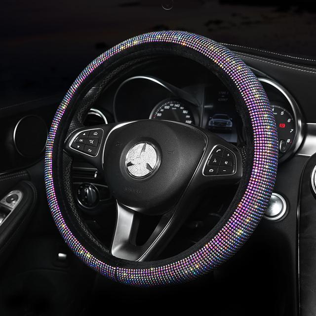 Cubierta de cristal colorido del volante del coche del Diamante de imitación mujeres Diamante cubierta del volante del coche accesorios interiores