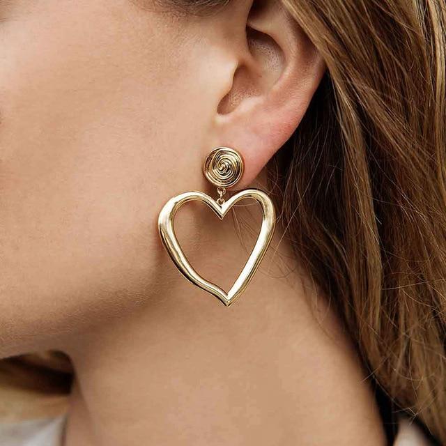 2019 модные золотые серебряные большие полые серьги с сердечком для женщин и девочек, минималистичные серьги-капли, ювелирные изделия, подарок