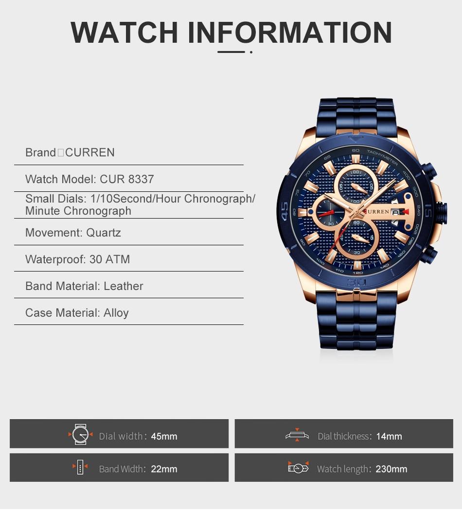 HTB1ls7XUY2pK1RjSZFsq6yNlXXau CURREN Business Men Watch Luxury Brand Stainless Steel Wrist Watch Chronograph Army Military Quartz Watches Relogio Masculino