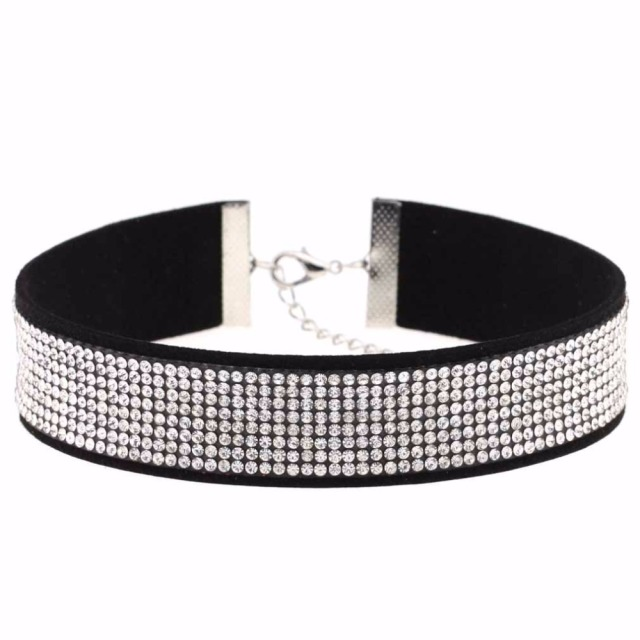 Black Leather Crystal Choker