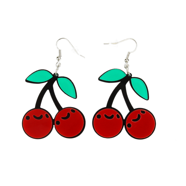 Korean Fashion Jewelry Accessories Personality Cute Acrylic Red Cherry Earrings For Women