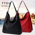 Solid Large Capacity Women Tassel Hobo Bags Shoulder Bag PU Leather Female Casual Tote Vintage Lady Handbag Bolsas Feminina TTOU
