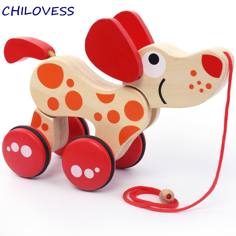 1pcs Wooden animal Pull car wheel toy Canine Puppy dog puzzle toddler baby walking tails wagging climb toys Gift for toddler