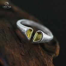 Lotus Fun Brand 100% Настоящее Твердые 925 Серебряное кольцо для Для женщин открытый манжеты Регулируемый Палец Группы Красивые ювелирные изделия дропшиппинг