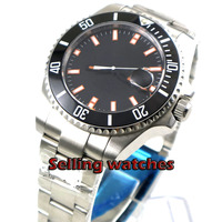 BLIGER 43mm men's watch black dial sapphire glass date magnifier  Automatic movement wrist watch