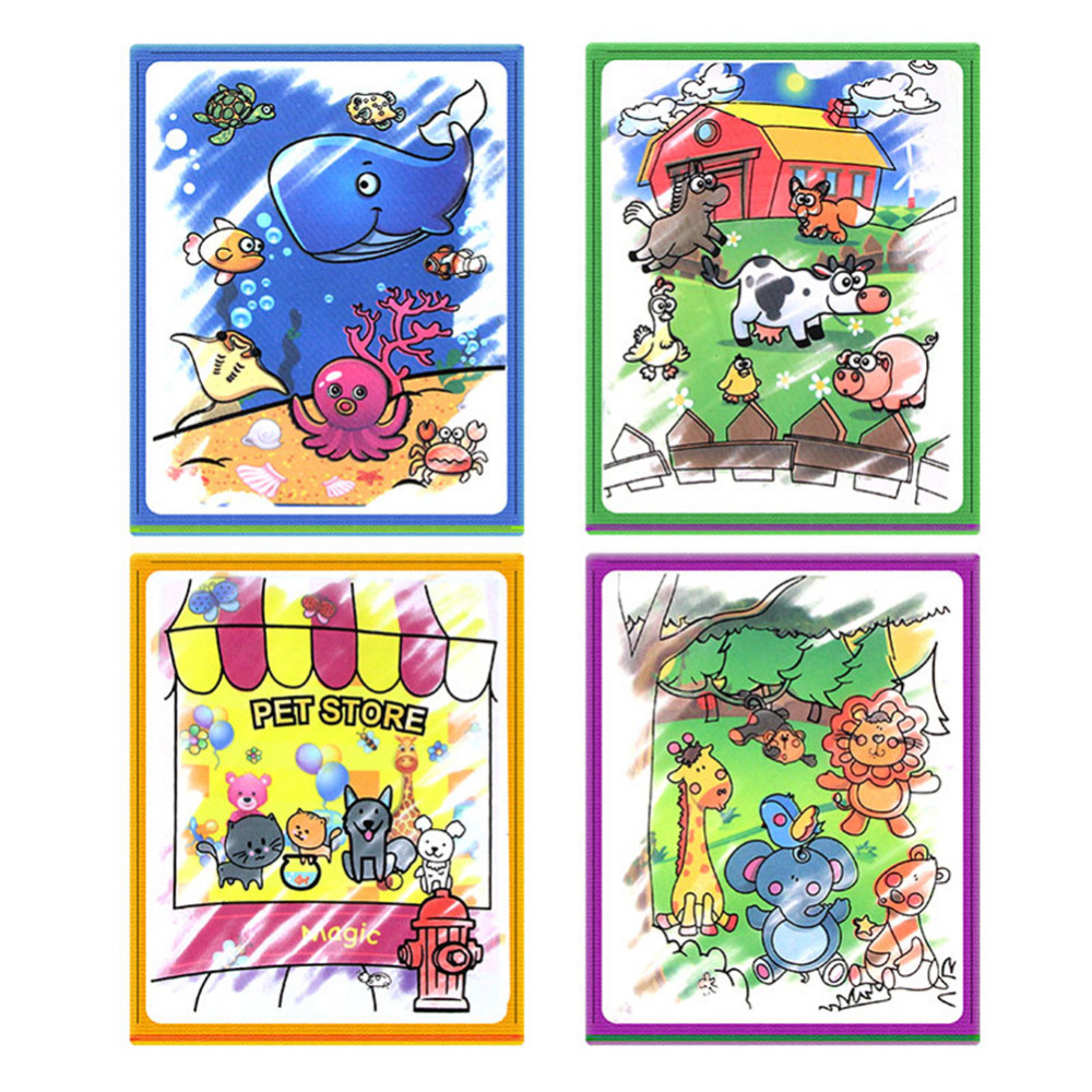 MINOCOOL Kids Educational Magic Water Drawing Book Animal Painting Water Coloring Cloth Book Painting Board Children Drawing Toy in Drawing Toys from Toys Hobbies
