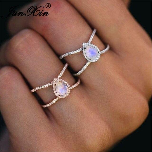 JUNXIN Boho Радужный опал кольца для женщин 925 серебро/однотонный цвет розовое золото груша кольцо из лунного камня женское свадебное стекируемое кольцо среднего размера подарок
