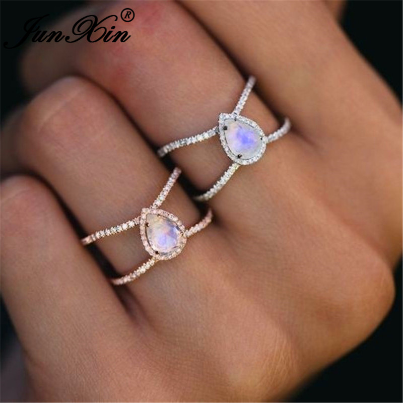 JUNXIN Boho Rainbow Opal Rings For Women 925 Silver/Rose Gold Filled Pear Moonstone Ring Female Wedding Stackable Midi Ring Gift
