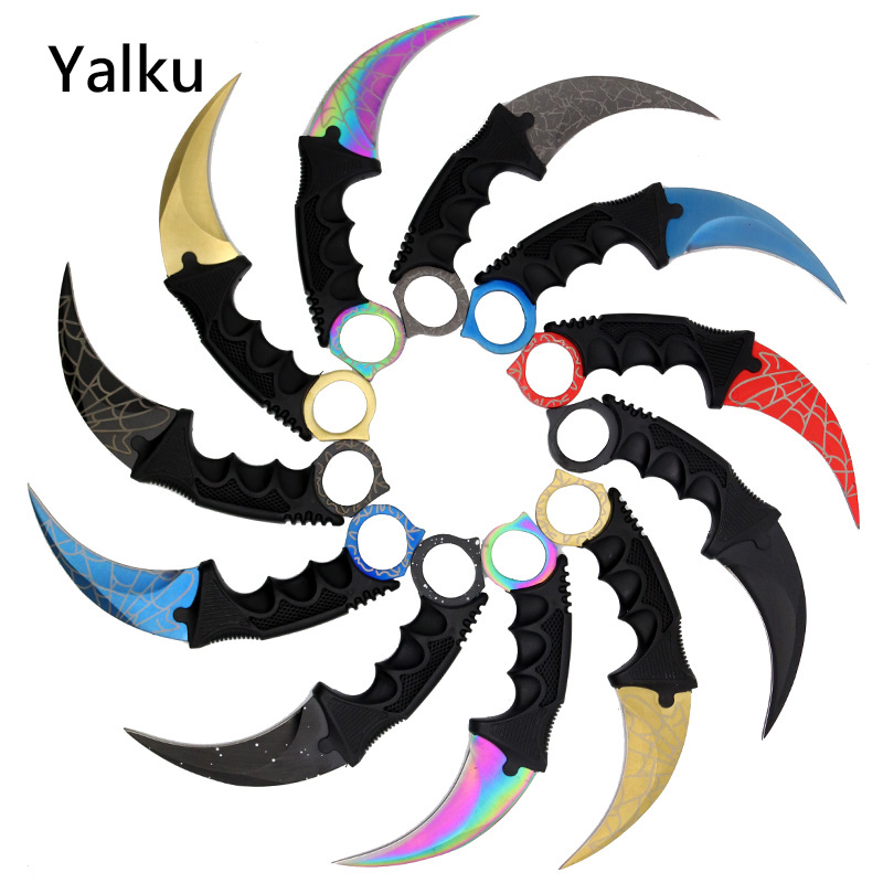 Yalku Karambit Knife CS GO Counter Strike Knives Survival Hunting Knife Camping Tools Camp Hunt Pocket Survival Hand Tools 8colors cs go stripe karambit knife counter strike karambit tactical handmade fighting claw hunting knives survival camping tool