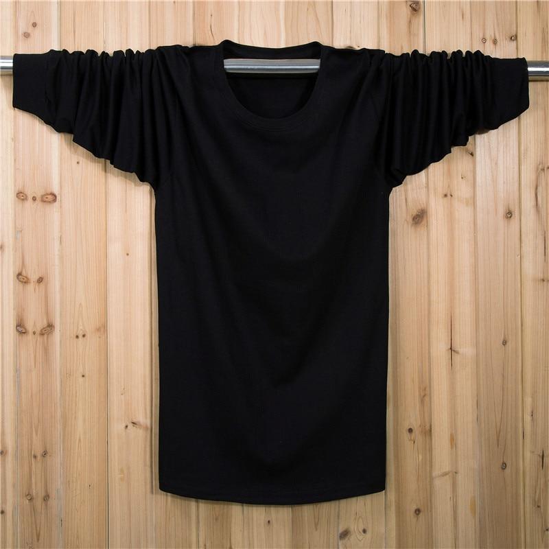 XL 7XL Plus Size Solid T shirt Men Cotton Long Sleeve t shirt Fitness t shirt