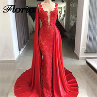 Arabic Red Lace Evening Dresses 2018 Aibye Muslim Luxury Formal Tulle Long Party Dress Turkish Prom Kaftans Gowns Robe de soiree