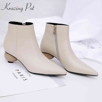 krazing pot genuine leather round strange heels Chelsea boots women European designer wedding dating dress party ankle boots L65